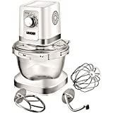 Unold 78525 Küchenmaschine Chef, Glas-Rührschüssel, 4 L Volumen, Planetenrührwerk, Bajonettverschluss, 600 W, weiß