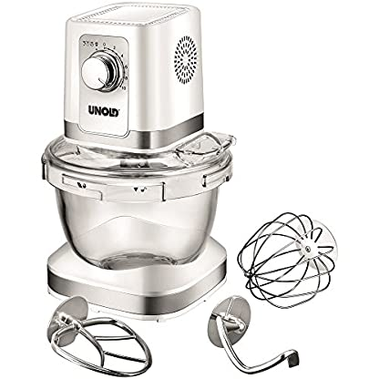 Unold-78525-Kchenmaschine-Chef-Glas-Rhrschssel-4-L-Volumen-Planetenrhrwerk-Bajonettverschluss-600-W-wei
