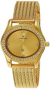 Maxima Swarovski Analog Gold Dial Women's Watch - 29531CMLY