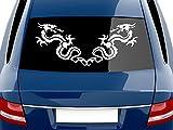 GRAZDesign 740095_70x29_090G Heckscheiben Auto Aufkleber Autoaufkleber Tuning Drachen Cartattoo Tribal (70x29cm//090 silbergrau)