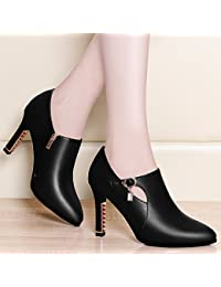 AJUNR-Zapatos De Mujer De Moda Negro 9Cm De Agua Perforación Solo Zapatos Zapatos High-Heeled Wild Water Mujeres Delgadas Perforación Expuestos A La Mesa De Agua Negro 39