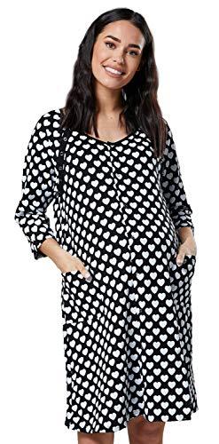 Happy mama donna camicia per parto prenatal prmaman allattamento ospedale.637p (nero con cuori, it 46/48, l)