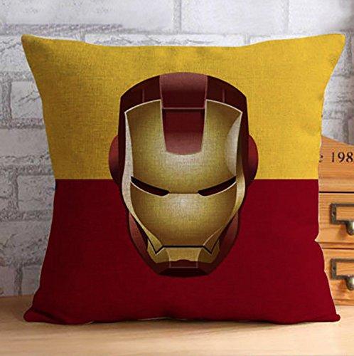 Fundas de cojín decorativas de los superhéroes de los Vengadores, resistente mezcla de lino con diseño de Iron Man, Hombre Araña, Superhombre, Capitán América y Batman, 45x 45cm, incluye llavero con linterna LED