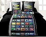 Centpourcentcoton Phones - Juego de funda nórdica y 2 fundas de almohada (220 x 240 cm y 63 x 63 cm respectivamente, 100% algodón), diseño de teléfono