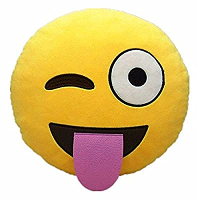Liroyal Soft Emoji Emoticon Yellow Round Cushion Pillow - inexpensive UK light shop.