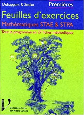 Les exercices corrigés : mathématiques STAE/STPA, 1ère