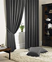 "Jacquard Check Lined Charcoal Grey 90"" X 90"" - 229cm X 229cm Pencil Pleat Curtains from Curtains"