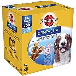 Pedigree DentaStix Hundeleckerli für mittelgroße Hunde, Kausnack mit Huhn- und Rindgeschmack gegen Zahnsteinbildung für gesunde Zähne, 1er Pack (1 x 56 Stück)