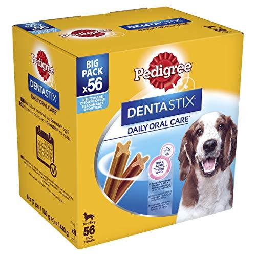 Pedigree Dentastix Premios para Perros Medianos de Higiene Oral Uso Diario - Pack de 56 palos