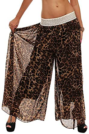 10084 Fashion4Young Damen Maxi-Hosenrock Rock Maxirock Hose pants verfügbar 3 Farben Gr. 36/38 (36/38, Leo-2)