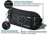 Flache Bauchtasche Hüfttasche mit RFID-Blockierung und 2 Hüftgurten für Damen und Herren - enganliegend und wasserabweisend - Geldgürtel zum Sport, Reisen und Joggen | VAN BEEKEN Reisegürtel, schwarz -