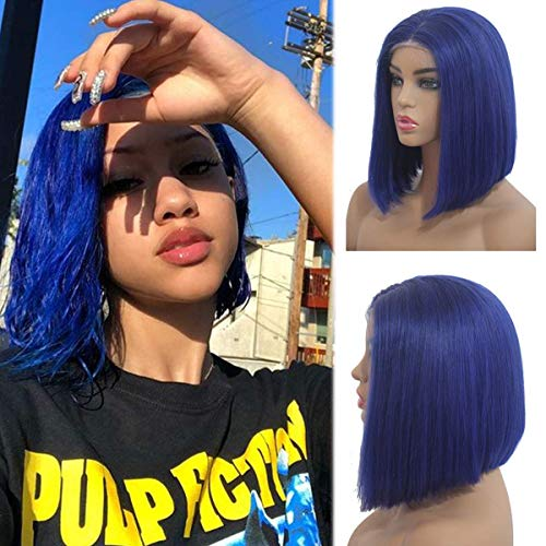 lace front wigs blue 180% density 13x4 hairline baby hair pre plucked for black women glueless soft and smooth thick and bouncy 10 inches ()