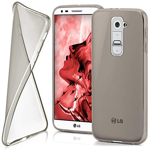 moex LG G2   Hülle Silikon Transparent Grau Clear Back-Cover TPU Schutzhülle Dünn Handyhülle für LG G2 Case Ultra-Slim Silikonhülle Rückseite