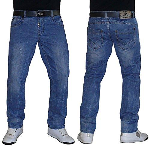 S&LU Super Herren Jeans in toller Used Waschung Größe W34 - W46 Blue-Used