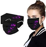 50 Piezas, Adultos negro Desechables No Tejido Mezclado de Filtro Elásticos Patrón de mariposa