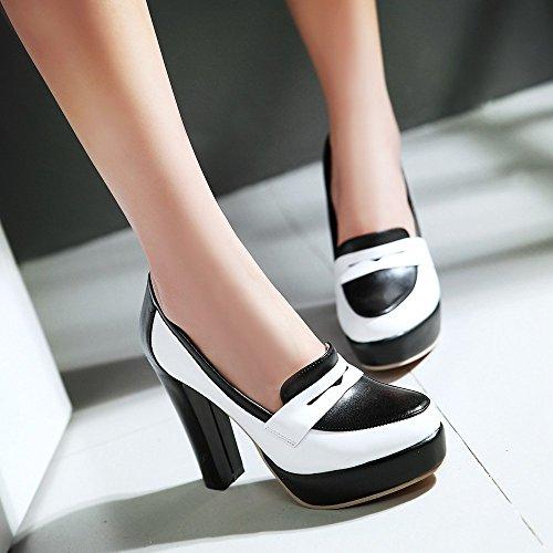 TAOFFEN Femmes Multicolore Escarpins Classique Bloc Talons Hauts Plateforme A Enfiler Chaussures Blanc