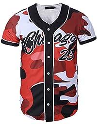 Swallowuk Unisex Casual Drucken gedrucktes Kurzarm Bluse Baseball Hip Hop T-Shirt (M, 4)