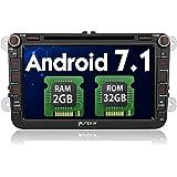 PUMPKIN Android 7.1 32GB + 2GB Autoradio DVD Player Moniceiver für VW mit GPS Navi 8 Zoll/ 20cm Touchscreen Unterstützt Bluetooth DAB+ WLAN Subwoofer MirrorLink USB MicroSD AV-OUT Fastboot 2 Din (Android 7.1)