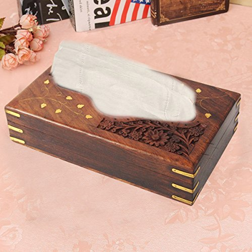 Handgemachte hölzerne Tissue-Box, Carving-Inlay-Taschentuchhalter, Tissue Aufbewahrungsbox, Cover Dispenser, braune Farbe Tissue Box Maßnahmen 9 X 5 Zoll (Polnisch-geschenk-korb)