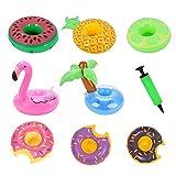 Portabevande gonfiabile a forma di fenicottero, palma, ananas, donut, anguria, limone, galleggiante, per feste in piscina o spiaggia