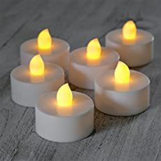 GOYAL® Flickering Flameless LED Yellow Tealight Birthday/Festival / Anniversary/All Purpose (Set of 12)