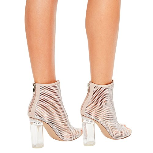 Damen Peep Toe Sandalen High-Heel Transparent Pailleten Blockabsatz Weiß