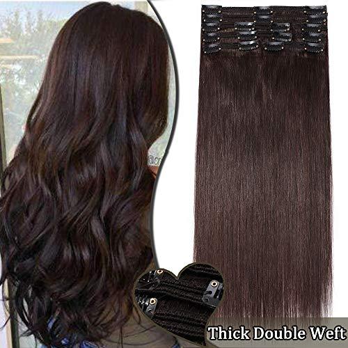 """Extensiones de Cabello Natural Clip (Max Grueso) 8 Piezas 18 Clips 10""""/25CM [ #2 Marrón Oscuro ] 100% Remy Hair"""