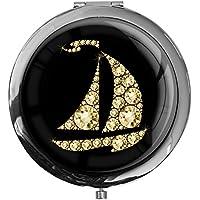 """metALUm - Extragroße Pillendose in runder Form""""Segelboot in Gold"""" preisvergleich bei billige-tabletten.eu"""