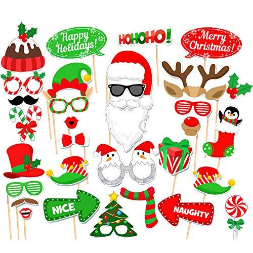 Weihnachten Photo Booth, Weihnachtsfeiern Photo Props mit Rahmen, 32pcs Foto Props, Foto Accessories, Weihnachtsfeiern Foto Requisiten, Maske, Brille, Weihnachtsfeiern, Party, Neujahr