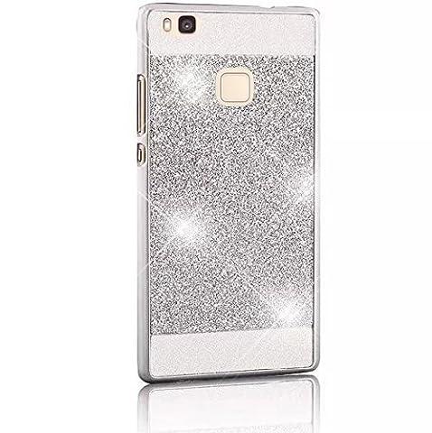 Vandot Super Luxe Hard PC Kunststoff Schutzhülle Case Glitter Ultradünn Thin Slim Light Ultradünn 3D Bling Kristall Strass Fall für Huawei P9Lite 5.2Zoll Shell Schutzhülle Schutz Tasche–Silber