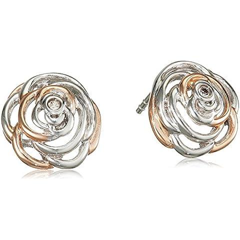 Hot Eternal Rose a forma di rosa, in argento Sterling, con dettagli dorati e orecchini a forma di rosa