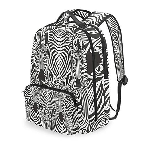 Lustiger Rucksack mit Zebramuster, Schwarz/Weiß, abnehmbare Schultertasche für Schule, Computertasche, Crossbody-Tasche für Kinder, Jungen und Mädchen Twill-zebra-print