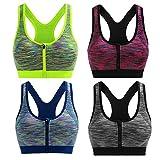 Cliont - Reggiseno Sportivo da Donna ad Alto Impatto, Zip Frontale, per Fitness, Corsa, Yoga Tutti i Colori. XXL