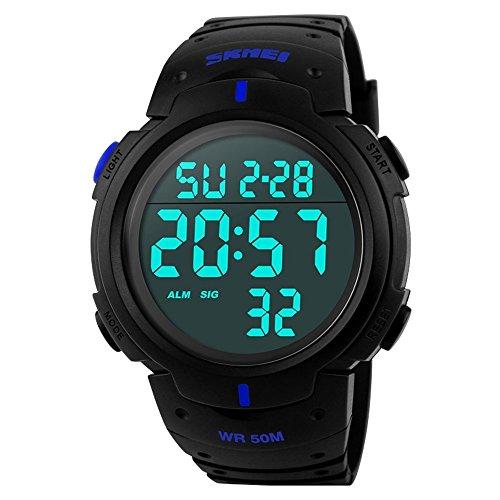 So militare impermeabile uomini LED digitale Sport quarzo Orologio da polso, Uomo, Navy Blue