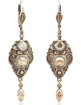 Jugendstil Ohrringe mit Kristallen von Swarovski® Gold - NOBEL SCHMUCK