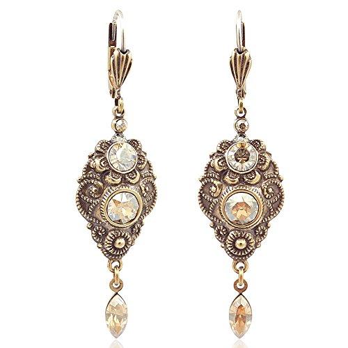 Jugendstil Ohrringe mit Kristallen von Swarovski Gold Ohrhänger NOBEL SCHMUCK