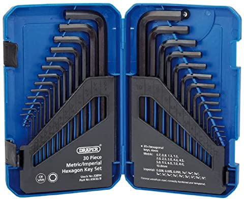 Draper 33894 Metric/ Imperial Combined Long Pattern Hexagon Key Set (30 Pieces)
