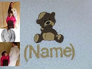 Peignoir de bain pour adulte avec Logo Ted Ours et le nom de votre Particulier Taille XXL