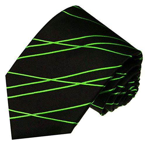 LORENZO CANA - Marken Krawatte aus 100% Seide Schwarz Grün Assymetrisch Streifen Zickzack Muster - 84567