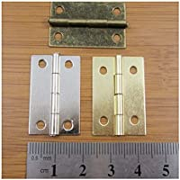 Warrenpoint Hardware 10 x Small Silver Plated Miniature Hinges 13 x 15mm Tiny Dollhouse Cigar Box Silver - H749