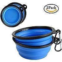 Qyuhe® - Juego de dos cuencos plegables con mosquetón para perro, para viaje, para llevar alimentos y agua, sin silicona BPA aprobado por la FDA, 1,5 tazas