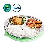 OldPAPA Kinder Edelstahl Bento Luch Boxes mit Herausnehmbaren Trennwänden,3 Unterteilungen Lunch Containers Leak-Proof Sichere Lebensmittel Aufbewahrungsboxen für Schule, Zuhause, Reisen