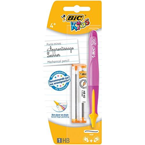 BIC Kids Learner Portaminas HB con Minas de Recambio (1,3 mm) - Rosa o Azul, Blíster de 1+2 unidades