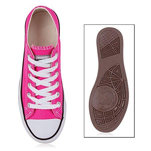 Damen Herren Kinder Unisex Schuhe Sneaker low Top Schnürschuh Halbhoch Neonpink Fuchsia