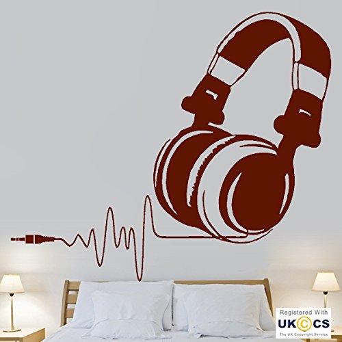 Price comparison product image tekkdesigns Music Headphones Beat Heart Kids Bedroom Cool Wall Art Stickers Decal Vinyl Room Bedroom Boys Girls Kids Adults Home Livingroom Quotes Kitchen Bathroom Accessories Mural