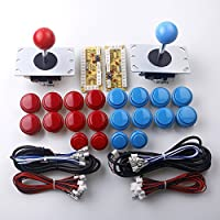 Reyann 2 Player gioco Arcade fai da te Parts Joystick USB del PC per MAME gioco fai da te (2 x USB ritardo zero Encoder + 2 x 2 pin 8 vie Joystick + 20 x Pulsante) Colore Rosso + Blu Kit di Sostenere All System di Windows