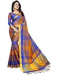 Saree For Women Latest Design(Perfectblue Women's Cotton Silk Saree With Blouse Piece (ZikkattVariation)
