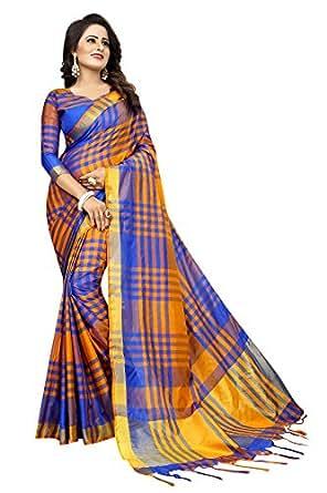 PerfectBlue Women's Cotton Silk Saree With Blouse Piece(Blueorange_Free Size)