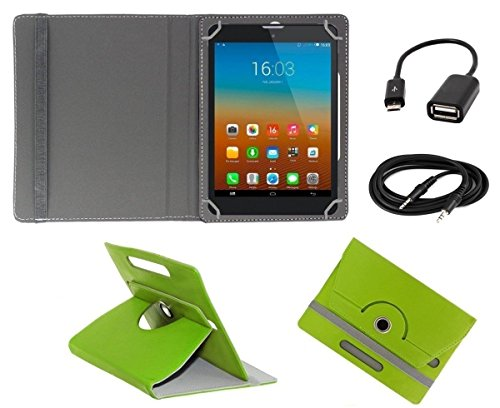 ECellStreet TM PU Leather Rotating 360° Flip Case Cover With Tablet Stand For lenovo Idea tab A3000 - Green + Free Aux Cable + Free OTG Cable  available at amazon for Rs.234