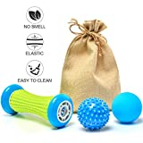 Plantar Fasciitis Foot Massage Roller, Massage Balls for Plantar Fascitis, Massage Roller Designed for Plantar Fasciitis with Massage Ball Relieving Pain Promoting Blood Circulation (Blue)
